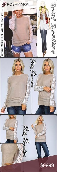 """1 HOUR SALE🌻 Crochet Knit Appliqué Raglan Sweater Available in S, M, L Measurements taken from a small Length: 23.5""""/26"""" (front/back) Bust: 38"""" Waist: 36"""" Hips: 36"""" Sleeves: 18""""  Features • Crochet knit pullover sweater • Venice applique along full length of the raglan sleeves • Ribbed neckline, cuffs, and hem • Side slits  NOTES: * Lace shorts available in separate listing * Model is 5` 10"""" 34B-24-34;wearing a Small Material Content: 75% acrylic 25% mohair  Bundle discounts available No pp…"""