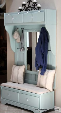 15 DIY Entryway Bench Projects • Tons of Ideas and Tutorials! Including, from 'the weekend country girl', this wonderful DIY mudroom bench project made from an old thrift store dresser - cut in half!