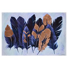 """Kateri"" Stylized Feather Print With Copper Leaf by Ksenia Sizaya – The Phoenix Collection Feather Wall Decor, Feather Art, Metal Wall Art, Canvas Wall Art, Canvas Prints, Painting Prints, Art Prints, Glass Printing, Wall Art For Sale"