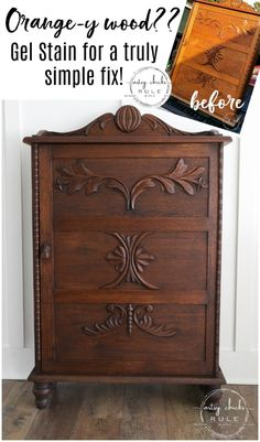 Gel Stain Cabinet Makeover (such a simple fix!) This gel stain cabinet makeover was a breeze to do! Super easy (and quick) way to update that old orange-y wood! Diy Furniture Decor, Paint Furniture, Furniture Projects, Furniture Making, Furniture Makeover, Vintage Furniture, Home Furniture, Furniture Refinishing, Furniture Design