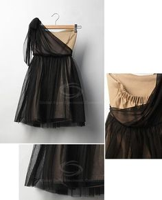 Stunning and Charming One-Shoulder Black Sleeveless Voile and Satin Dress For Women