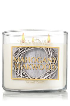 Mahogany Teakwood 14.5 oz. 3-Wick Candle - Slatkin & Co. - Bath & Body Works- Finally a really good masculie scent that doesnt smell like I just stuck my face in a christmas wreath.