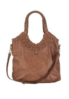 """Textured Handle Crossbody Bag - $42.00 @ Maurices ... This large bag is a casual style that carries it all. Inside the snap top is a cell phone pocket and zipper compartment to keep you organized. A detachable crossbody strap lets you wear it how you want it., Inside Pockets and Zipper Compartments, Snap Closure, 15"""" w x 13"""" h x 7.5"""" d, Store Style #: 85888, Wipe Clean"""