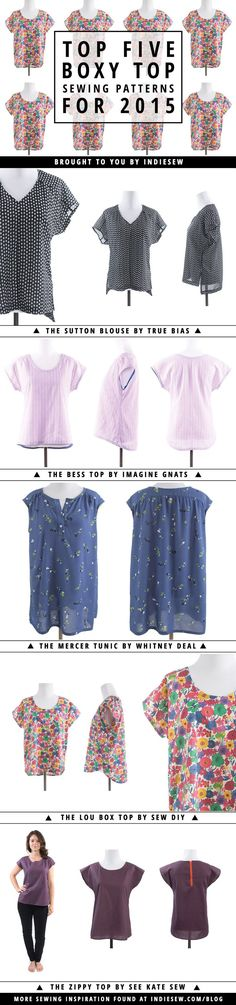 sew: top five boxy top patterns || Indiesew.com