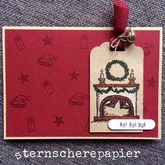 Zum Wochenende habe ich für euch noch eine Weihnachtskarte! Ich finde den Stempel soooo süß, mit dem im Kamin festhängenden Nikolaus! Hoffentlich passiert das unserem Sinterklaas nicht ;-)