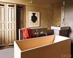 Agape wood tub; bath by Christophe Delcourt