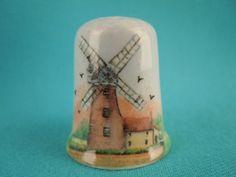 Thimble Bone China with Windmill by EgiArt on Etsy