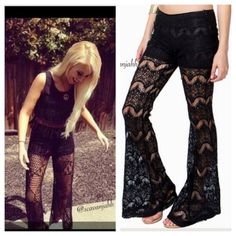 NEW beautiful bohemian black lace palazzo pants 💚ships in less than 24 hrs   💜great for boho or rocker look 💜brand new 💜bundle to save pair it with your favorite brandy crop tops or anything boho/rocker/indie look zipper on the side Imported  ⛔️PLEASE let me know if you want to buy so I can create a separate listing for you Pants Wide Leg