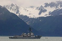 USS Chafee (DDG-90), a guided missile destroyer in the US Navy in Resurrection Bay in Seward, Alaska.