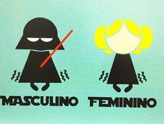 quadro placa madeira banheiro masculino feminino star wars