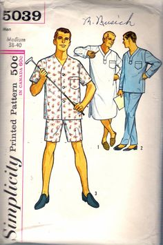 "Vintage 1963 Simplicity 5039 Men's Pajamas in Two Lengths & Nightshirt Size Medium Chest 38"" - 40"" by Recycledelic1 on Etsy"