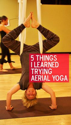 What it's like to try aerial yoga. #yoga #aerialyoga