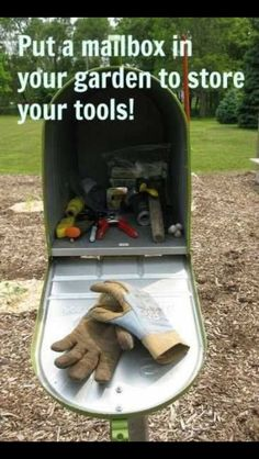 Putting a mailbox in the garden is the kind of cute/random decorations that I enjoy. The garden tool storage would be so practical & handy!