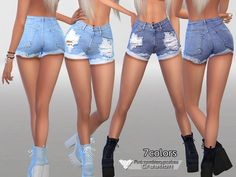 The Sims Resource: Denim Shorts No.010 by Pinkzombiecupcakes • Sims 4 Downloads