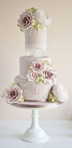 Dusky pink wedding cake | Flickr - Photo Sharing!
