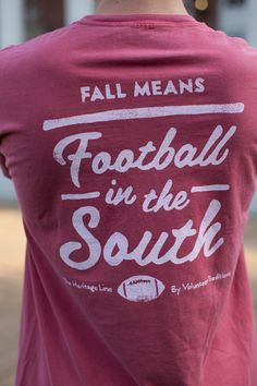 Fall Football Pocket Tee/ Crimson with White
