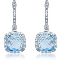 Diana M. Jewels 14k White Gold Cushion-Cut Blue Topaz & Diamond Drop... ($1,911) ❤ liked on Polyvore featuring jewelry, earrings, white gold dangle earrings, dangle diamond earrings, hoop earrings, drop earrings and dangle earrings