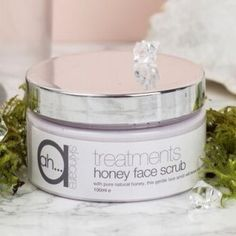 Honey Face Scrub.  An essential weekly treatment to keep your skin free of debris buildup.  Leaves your skin glowing.