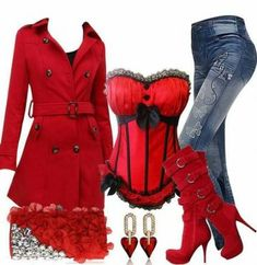 Love this red outfit! Sexy Outfits, Lila Outfits, Night Outfits, Classy Outfits, Stylish Outfits, Beautiful Outfits, Cool Outfits, Fashion Outfits, Womens Fashion