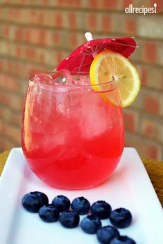 "Hot Pink Lemonade | ""I have made this so many times, I have lost count. I cut the sugar in half because the blueberries are sweet enough on their own, also I put a few cups of the lemonade in the blender with frozen blueberries, puree it and strain it, gets rid of all the seeds and skin fragments."""
