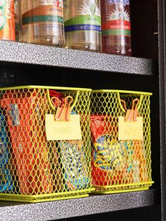 Keep snacks organized and reachable by corralling them in cute baskets!