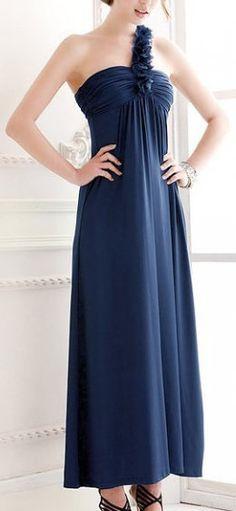 Dark Blue Shirred Single Shoulder Maxi Dress Bridesmaids