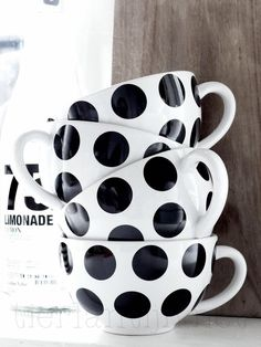 Adorable black and white polka dot cups. How cheery are these? White Cottage, My Cup Of Tea, Black N White, Black Dots, White Aesthetic, Decoration, Coffee Cups, Tea Pots, Polka Dots