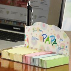 Ein nützliches Vatertag Geschenk für den Schreibtisch! Wir basteln eine Haftnotizzettelbox mit Stifte halter! Anleitung mit ▶Video!