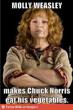 Molly Weasley makes tough movie guy Chuck Norris eat his vegetables. Julie Walters as Molly Weasley, Harry Potter Movies, <------ Chuck Norris, Bellatrix, Percy Jackson, Expecto Patronum Harry Potter, Movies Quotes, Must Be A Weasley, The Meta Picture, No Muggles, Geek Stuff