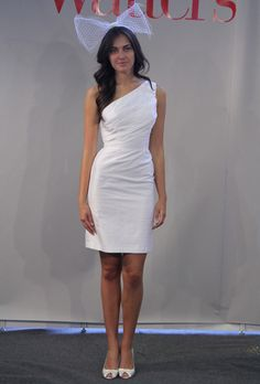 One-Shoulder Silk Knee-Length Sheath Wedding Dress |