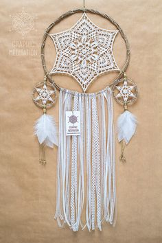 Magic white dream catcher, 10 inch hoop. Beautiful decoration for bohemian style interior or wedding ceremony. Made to order