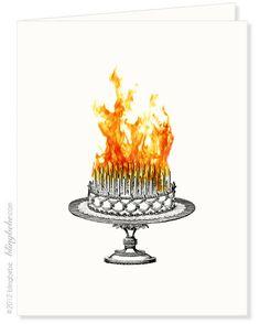 Inferno Birthday Cake Funny Greeting Card