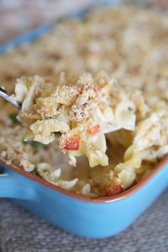 Family Favorite:  Awesome Creamy Chicken Noodle Casserole recipe (no cream-of-anything soup in this one!)  Comfort food at its best!