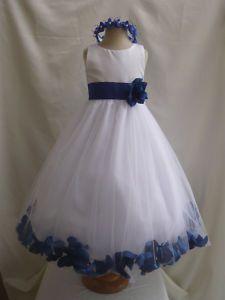 flower girl dress royal blue wedding