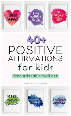 Positive affirmations for kids is a way to teach children self-regulation. It's a great coping strategy to help kids persevere through a challenging situation. Plus, it also boosts kids' self-esteem and encourages a growth mindset. Positive Affirmations For Kids, Positive Phrases, Positive Affirmations Quotes, Words Of Affirmation, Positive Mindset, Positive Quotes, Positive Life, Growth Mindset Quotes, What Is Positive