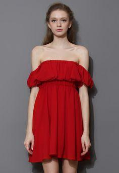 Shop: Endless Off-Shoulder Frilling Dress in Red