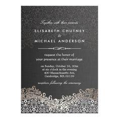 Elegant Silver Damask - Classic Formal Wedding Invitation