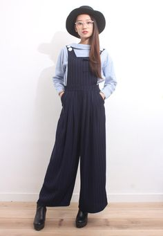 Pinstriped Wide-Legged Jumpsuits