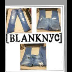 "Blank NYC Jeans.  Sz 26. With Rhinestones. These jeans are really cute.  I love the tear drop rhinestones on the leg. Waist 13"" inseam 26"". Rise 7"". In good condition. Blank Denim Jeans"
