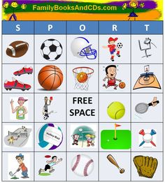 Free Printable for Sport Bingo.  Click here to print pdf game sheets, game pieces and instructions. You just add the kids!
