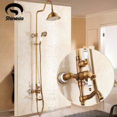 Shower Faucets Sweet-Tempered Mttuzk Antique Brass Shower Set Hot And Cold Mixer Double Handle Shower With Porcelain Wall Mounted Shower Set Free Shipping Low Price