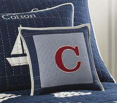 Lakehouse Personalized Shams | Pottery Barn Kids  This z pillow is nicer $25