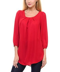 Another great find on #zulily! Red Pleated Tunic #zulilyfinds