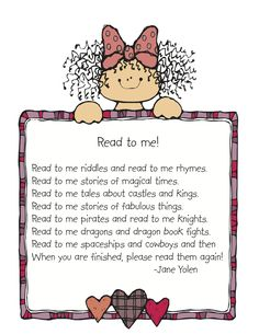 """Read to me"" Poem and list of 100 books to read in kindergarten"