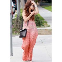 Gypsy 05 Cambridge Floral Print Maxi Dress in Apricot ($276) ❤ liked on Polyvore