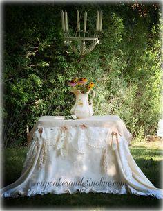 Burlap and linen tablecloth