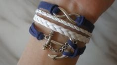Combined Bracelet / Antiqued Silver Anchor Bracelet, Infinity Bracelet / Navy Blue Leather Rope, White Braids / Bridesmaids Jewelries, Gift via Etsy