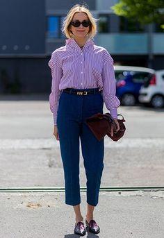 Fashion editor Hege Aurelie Badendyck wearing a striped shirt at Copenhagen…