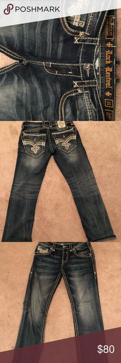 Rock Revival Jeans Worn Once EUC  SIZE 31  One stain, pictured in the last photo very unnoticeable and could be removed probably by washing   Beautiful detail❤️ Rock Revival Jeans Relaxed