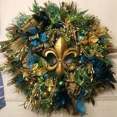 Mardi Gras Wreath Using Christmas Wreath